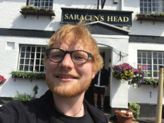 Ed Sheeran outside the Saracen's Head