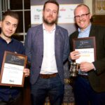 at the presentation of the Carlsberg Sustainability Award 2019 (l-r): Silver Award winner Matthew Curtis; Carlsberg UK Head of Corporate Affairs, Andrew Roache and Gold Award winner Will Hawkes