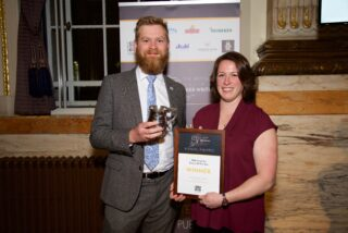 2019 Brewer of the Year, Sophie de Ronde, with James Calder of sponsors SIBA